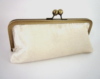 Ivory Velvet Clutch Purse with Kiss-Lock Frame, 8-inch