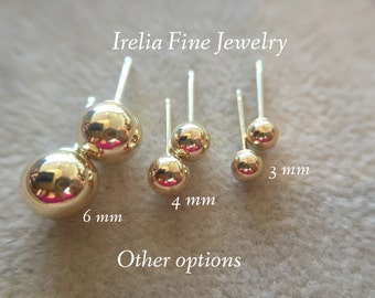 14k Yellow Gold Ball Stud Earrings Lightweight with 14k Gold Backs 3mm 4mm 5mm 6mm 7mm  --Ready to Ship--