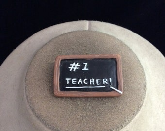 Vintage #1 Teacher Black board Pin