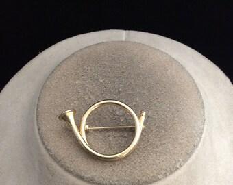 Vintage Goldtone Horn Pin