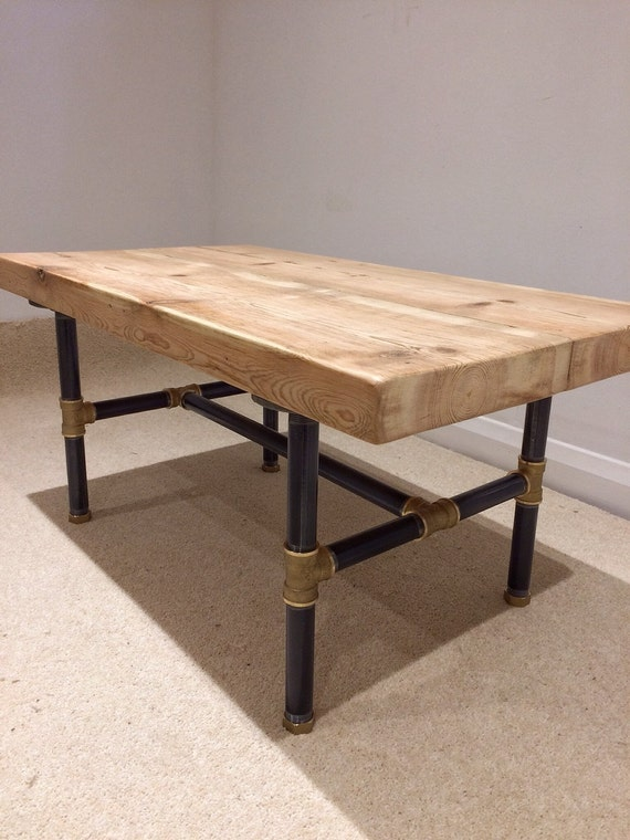 Reclaimed victorian pine beam coffee table with black for Reclaimed beam coffee table