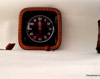 Mid Century Modern ceramic wall clock by Carl Westh for Genfa and ceramic surround by Herbolzheim 1970's
