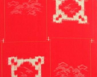 Red Kasuri Kimono Wool Vintage Fabric - BX019