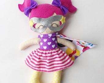 Super hero doll - fabric doll - superhero - handmade doll - modern rag doll - cloth doll - super girl