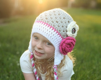Girls hat - toddler hat - child hat - any size - flower hat - earflap - crochet flower hat - winter hat - fall hat - photography prop
