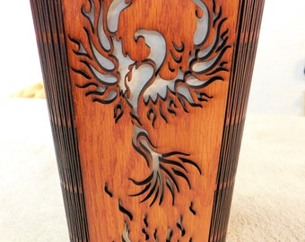 Phoenix Rising Lamp - Accent Lamp - Laser Cut Wood Lamp