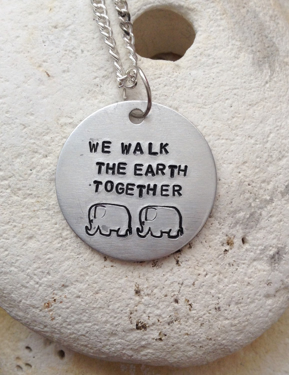 """We walk the earth together elephant necklace - love jewellery - valentines gift - handstamped 25mm  pendant on 18"""" chain"""