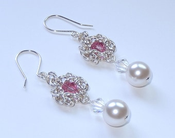 Sterling silver pearl drop earrings with Swarovski crystal rose and clear bicones, byzantine romanov chainmaille earrings for women, gift
