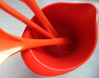 Vintage Melamine Orange Pitcher or Tool Holder and Spoons by Rosti Denmark and Machi Mid Century Danish Modern 70s Kitchen Utensils