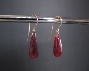 Ruby Briolette Solid Gold Earrings/Sale! All Sales Final