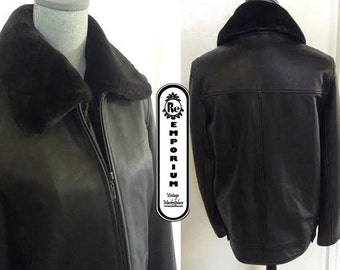 Women's Vintage Leather  Brown Leather Bomber Jacket with Faux Fur Collar No. 10
