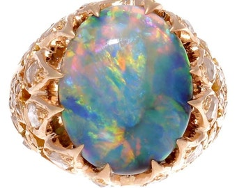 Belle Epoque French Black Opal Diamond Gold Ring
