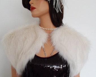 white fur bolero, off white fur, bridal shrug, faux fur, bridal wrap, bridal white, shawl