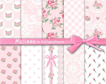 "Shabby chic digital paper : ""Melissa"" pink and white digital paper in shabby chic style, rose digital paper, floral digital paper, pink rose"