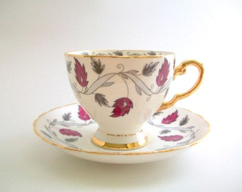Teacup & Saucer, Teacup Set, Pink Teacup Set, Pink and Gray Teacup, Vintage Teacup Set, Floral Teacup Set, Pink and Silver Teacup, Flower