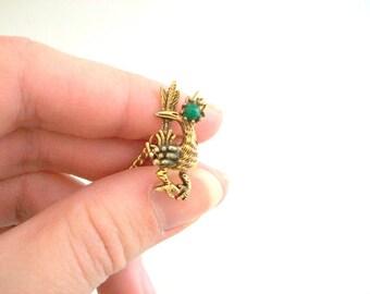 Tie Tack, Tie Pin, Roadrunner Tie Tack, Roadrunner Tie Pin, Bird Tie Tack, Bird Tie Pin, Gold Tie Tack, Gold Tie Pin Gold & Green Roadrunner