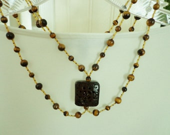 Tiger Eye Stone Beads, Bohemian, Multi Strand Necklace, Antiqued Carved Bone Focal Bead, Renaissance Inspired