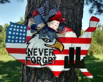9-11 Door Hanger, United States 9-11 Twin Towers, Memorial Door Hanger, never forget, 911, new york