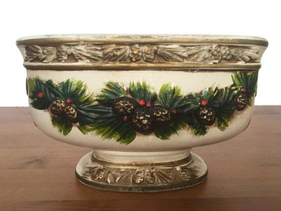 Vintage Napcoware planter ceramic pedestal Christmas holly and pinecone