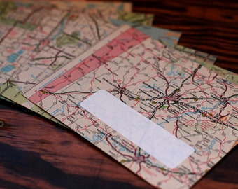 Handmade Map Envelopes - set of 8 -  Mapvelopes - upcycled envelopes