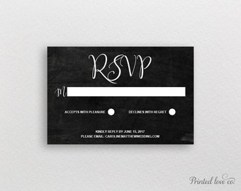 Chalkboard Wedding RSVP // Printable Template // Editable Response Card // Instant Download // Wedding Reply Card