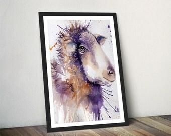 Sheep Watercolour, Sheep Art Print, Sheep Home Decor, Sheep painting, Framed Sheep Print by Katherine Williams