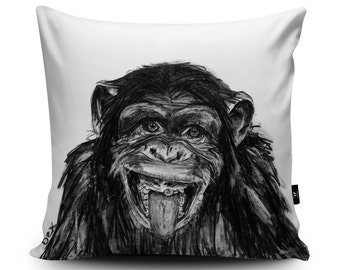 Chimp Cushion, Chimp Pillow, Monkey Cushion, Monkey Pillow, Chimp Illustration, Chimpanzee Cushion Cover, Chimp Home Decor, Vegan Soft