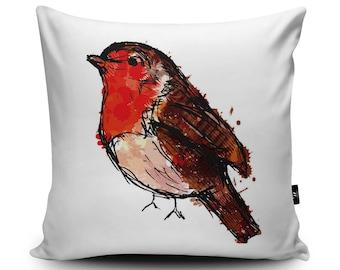 Robin Cushion, Robin Pillow, Bird Cushion Cover, Bird Pillow Case, Bird Home Decor, Robin Home Decor, 45/60cm Faux Suede by Louise Whitmore