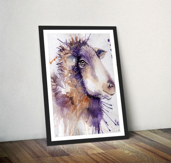 Sheep Wall Art Home Decor ~ Sheep watercolour art print home decor