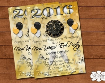 new years eve invitation, new years eve party, new years eve invite, happy new year invite - Digital File - DIY PRINTABLE