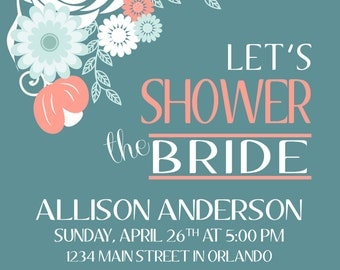 Floral Teal Bridal Shower Invitation