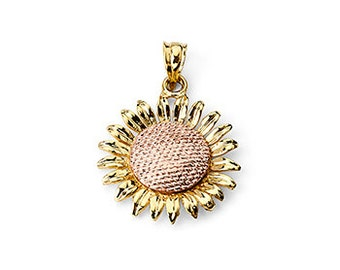 14k solid yellow and rose gold sunflower pendant. sunflower charm. floral, flower