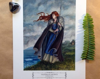 "Valkyrie of the Rock//Viking//Woman//Painting//Illustration//8x10""//Print"
