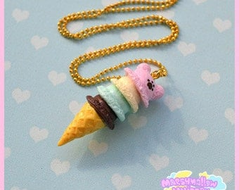 Bear ice-cream scoop necklace cute and sweet