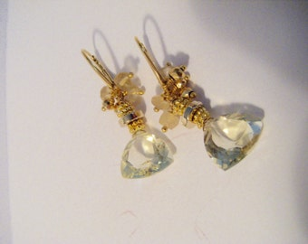 Earrings citrine faceted gold Brisur