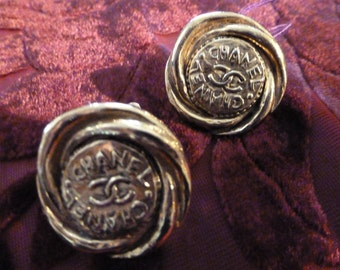 Chanel Earrings 1980's Clip-ons Gold Logomania Coins