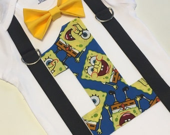 Spongebob first birthday outfit with bow tie and suspenders