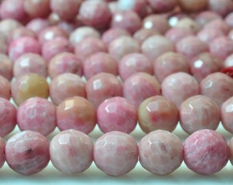 62 pcs of Chinese Rhodonite faceted round beads in 6mm