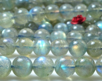 47 pcs of  A A A Grade--Natural Labradorite smooth round beads in 8mm (1#)