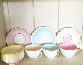 Pretty vintage pastel part harlequin tea set