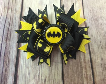 "5"" batman stacked bow with bottlecap center. Superhero bow."