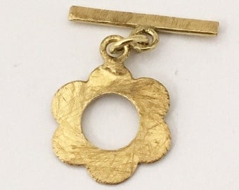 3 Brass Toggle Clasps Handmade Flower Styled