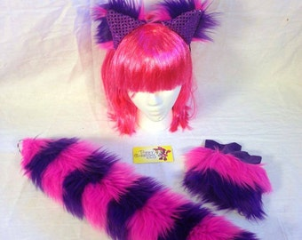 Fluffies pink, black, and purple cheshire cat set. Cat tail, cuffs, and ears great for raves, festivals, and gogo dancers.