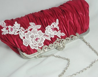 Red Evening Clutch, Red Bridesmaid Clutch, Red White Flower Bridal Clutch, Red Satin Handbag, Wedding Valentine's Day Clutch,  Red Pearl Bag