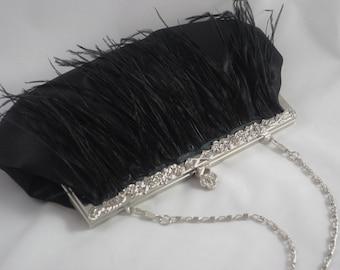 Black Ostrich Feather Clutch, Midnight Black Evening Clutch, Black Evening Purse, Gothic Clutch Feather Satin Clutch Black Wedding Clutch