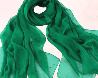 Emerald Green Chiffon Scarf - True Green Chiffon Scarf - Large Chiffon Scarf - Green Georgette Scarf - Forest Green Scarf - Large Shaw 30D35