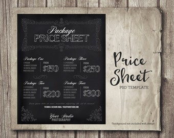 Photography Price List - Chalkboard Photography Package Pricing - Photoshop Template Photography Session Price Packages - INSTANT DOWNLOAD