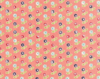1 yard VINTAGE PICNIC by Bonnie and Camille for Moda Fabrics Floral Rosie Coral