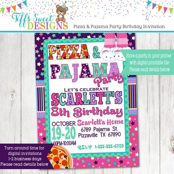 pizza and pajama birthday party invite sleepover birthday - Sleepover Birthday Party Invitations