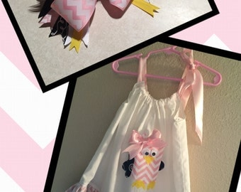 Owl Pillowcase Dress with Matching Bow